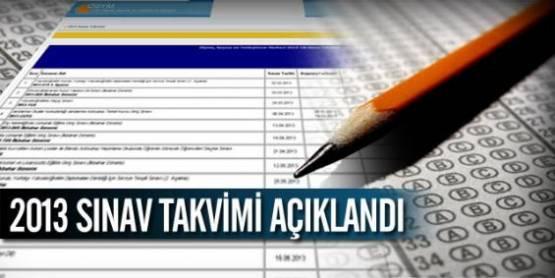 ÖSYM, 2013 sınav takvimini yayınladı